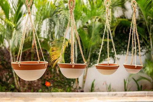 Ceramic Hanging Planter Bowls (Set of 4 Mixed Sizes)