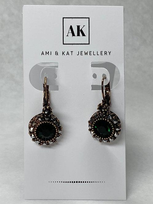 Vintage Green Crystal and Rhinestone Drop Earring