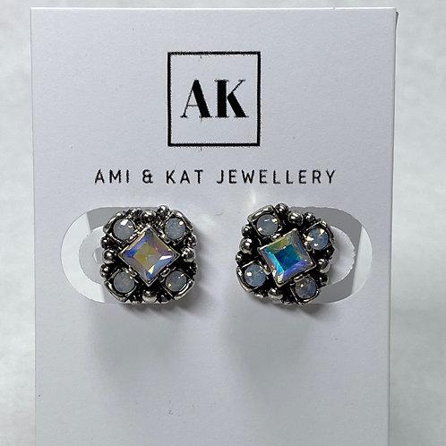 Vintage Opal Crystal Cube Stud Earrings