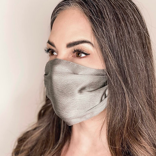 Pure Mulberry Silk Mask - Speckled Silver