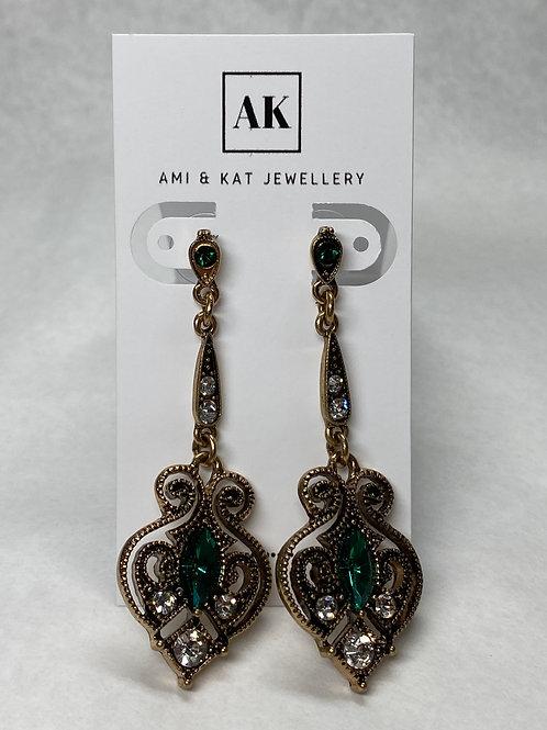 Vintage Green Crystal Pendant Earring