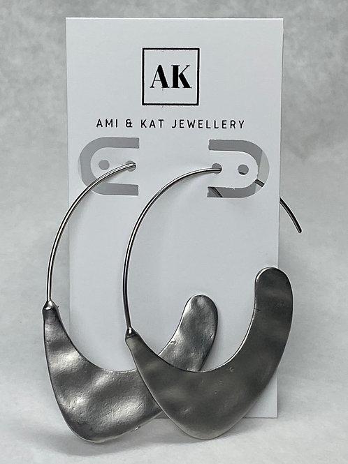 Silver plate blade earring