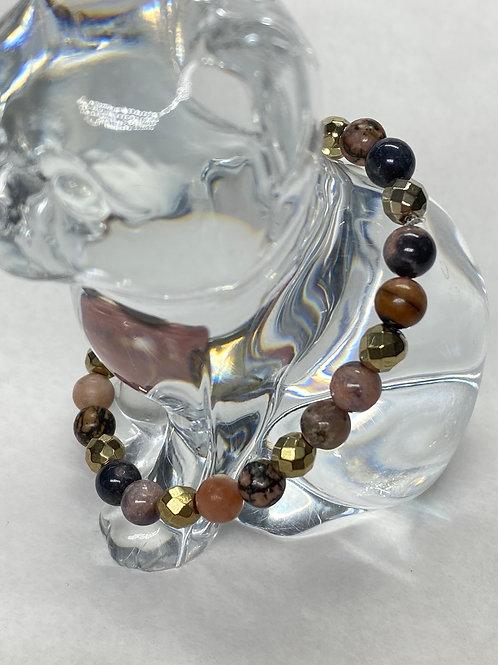 Ami & Kat rhodonite and gold hematite gemstone stretch bracelet