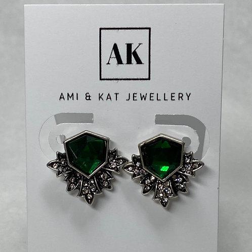 Vintage Geo Burst Green Crystal Earring