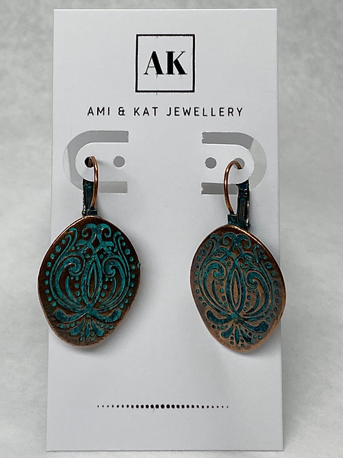 Boho blue embossed copper disc earring