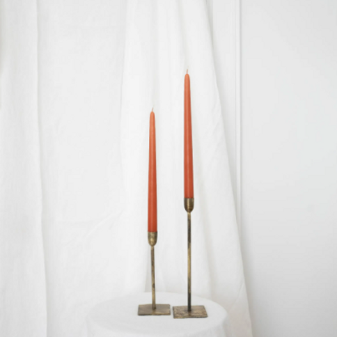 "Taper Candles - 18"" Pair Terracotta"