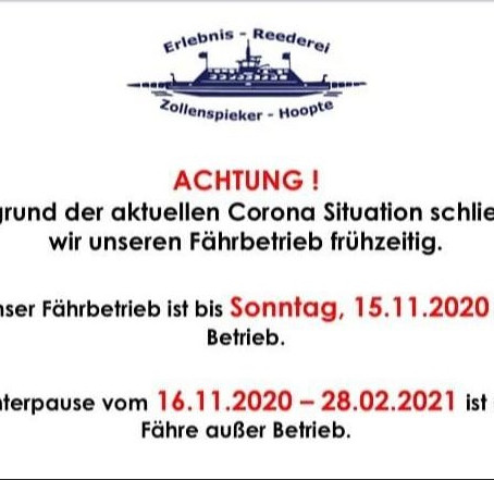 Fährbetrieb Hoopte-Zollenspieker geht schon ab 16.11. in Winterpause