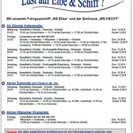 Elbeschiffstouren Dömitz/Damnatz/Hitzacker