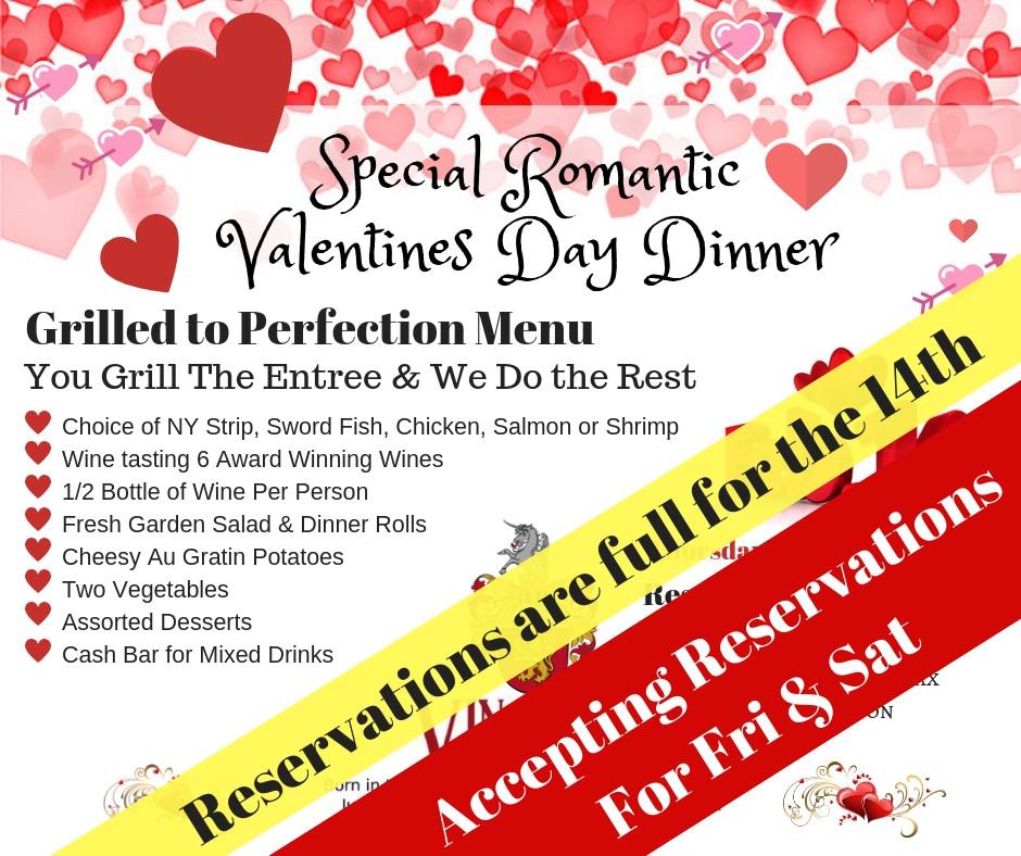 Valentines Day Dinner Fri 15th & Sat 16th