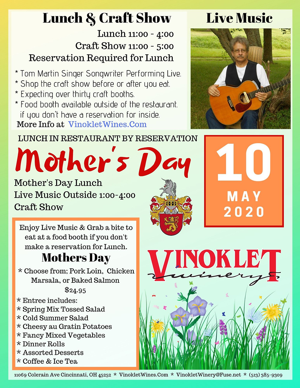 Mothers Day Buffet & Craft Show May 12 2019