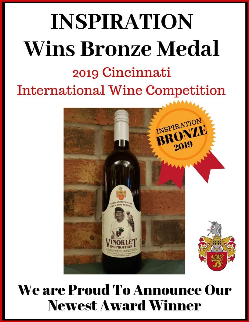 Inspiration Wins Bronze Medal Cincinnati International Wine Festival (Competition)