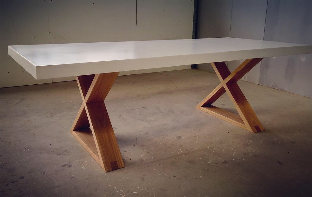 White Concrete Table with Timber X Frame Base