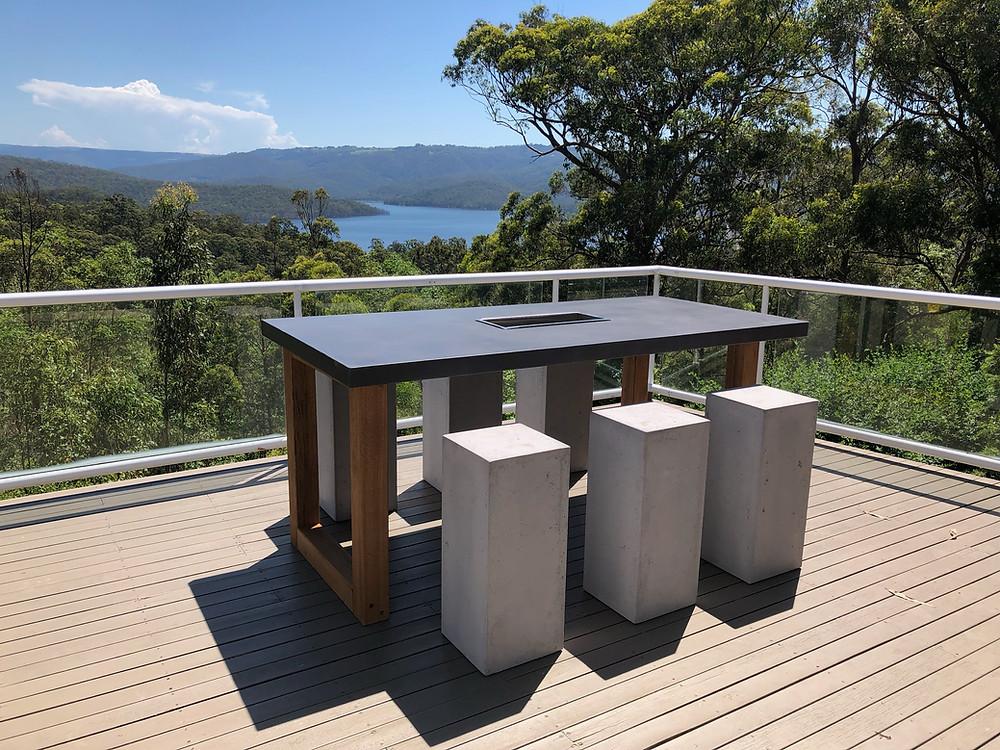 Concrete Top Bar Table
