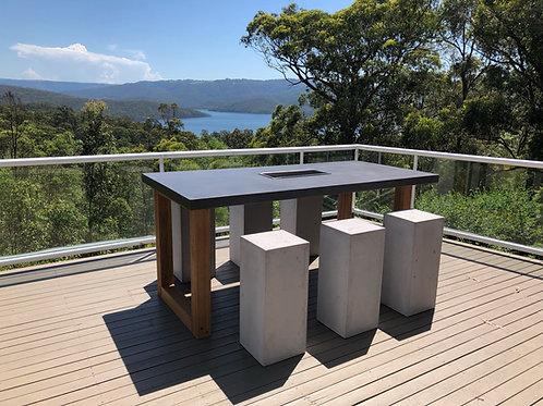 Concrete Bar Table U Shape Timber Legs