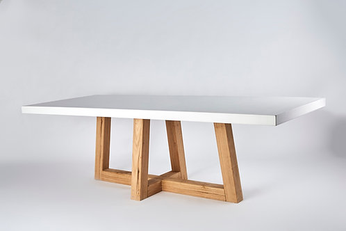 Concrete Dining Table ~ cross check timber frame
