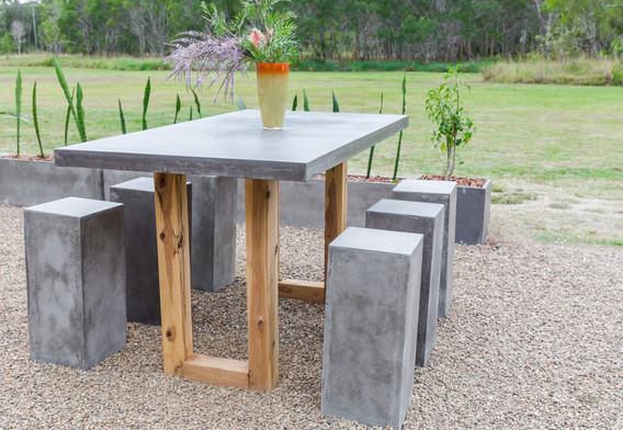 grey bartable timber U legs with stools.jpg