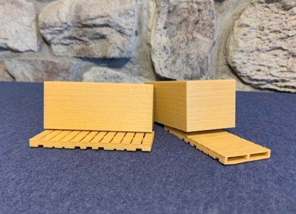 Stacks of 4x8 sheets of 3/4 in. plywood on long skids (set of 2)