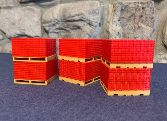 Cubes of bricks on pallets (set of 6)