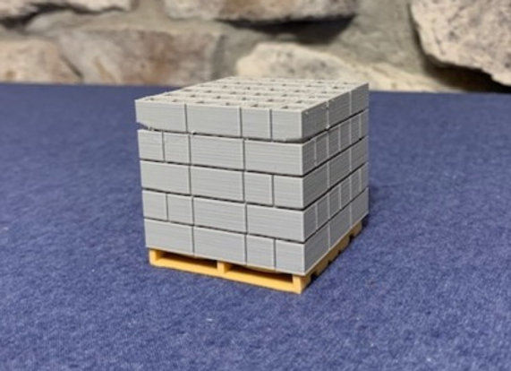 Single cube of concrete blocks on a pallet