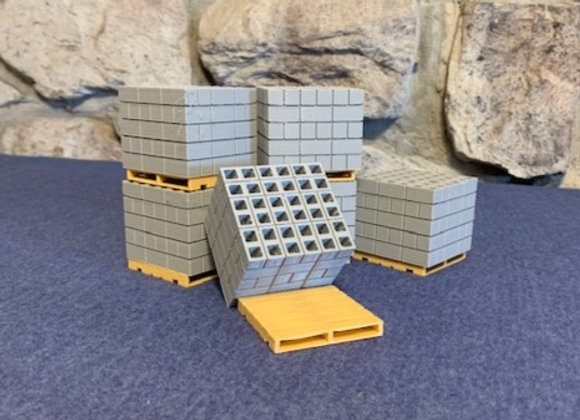 Cubes of concrete blocks on pallets (set of 6)