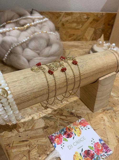 Bracelet chaine corail & immortelle