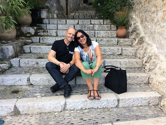 Paul and Ana on the steps