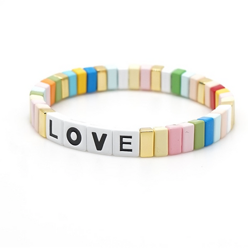 "Tile ""LOVE"" Bracelet in Pastel Rainbow"
