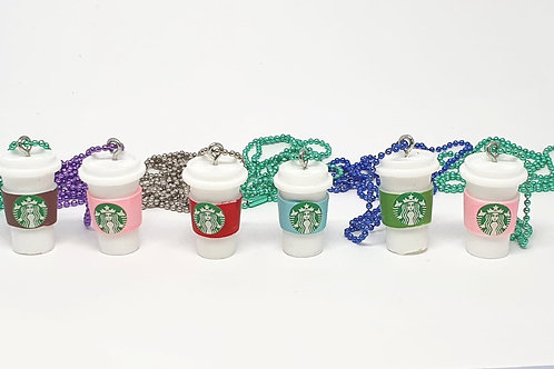 Coffee Cup Necklace with Coloured Chain