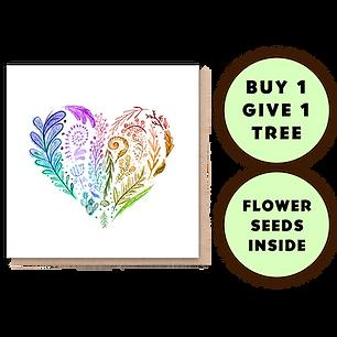 1 Tree Planted Card - Rainbow Heart