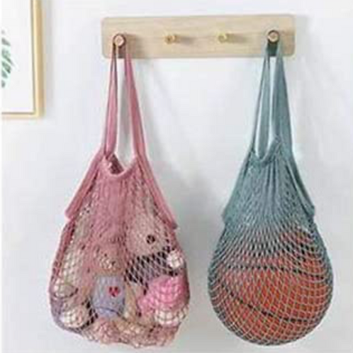 String Bag in Dusty Pink & Teal