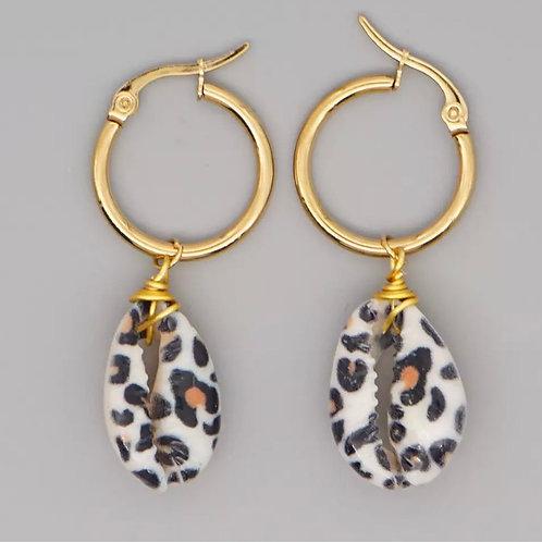 Leopard Print Cowrie Shell Hoop Earrings