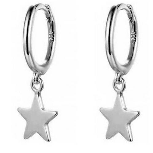Sterling Silver Star Hug Hoop Earrings