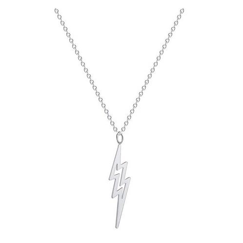 Lightning Bolt Necklace Silver