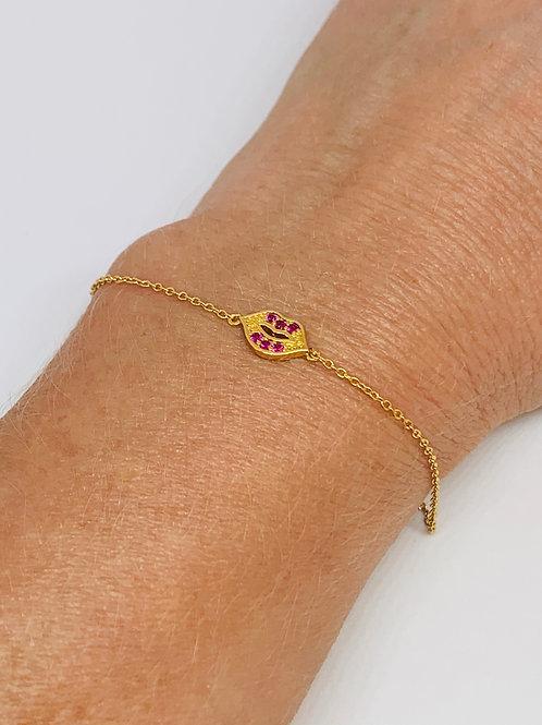 Mini Lips Bracelet Gold