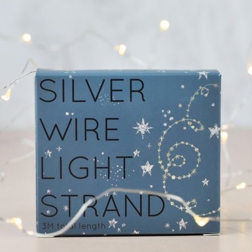 30 Silver Wire String Lights  Battery Powered LED