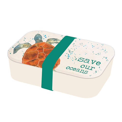 Turtle Save Our Oceans Lunch Box made from Bamboo, plastic free
