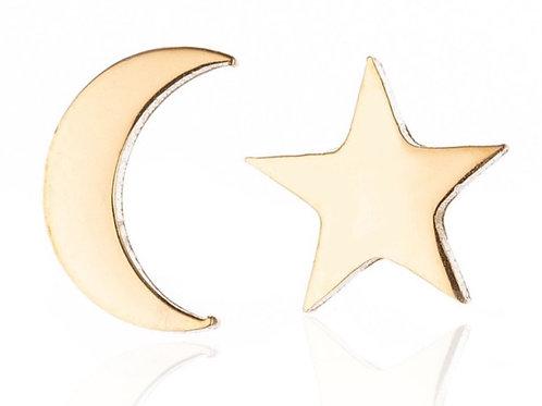 Moon & Star Stud earrings in Silver & Gold