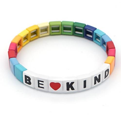 "Tile ""BE KIND"" Bracelet in Rainbow"