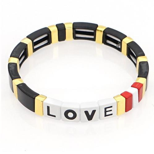 """Tile """"LOVE"""" Bracelet in Black & Gold"""