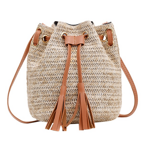 Straw Bucket Bag with Pink or Tan Strap