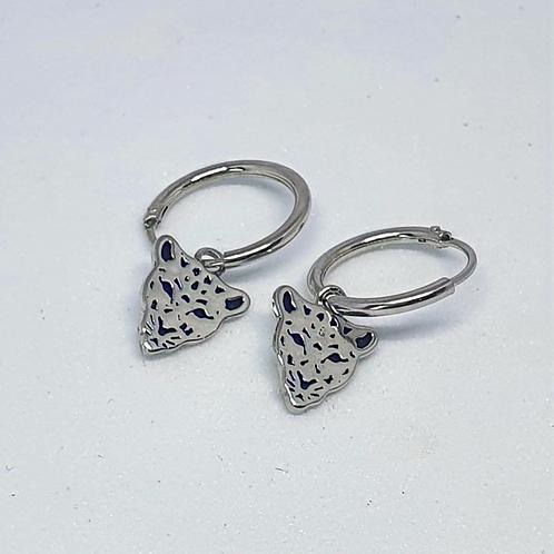 Leopard Love Huggie Earrings in Silver & Gold