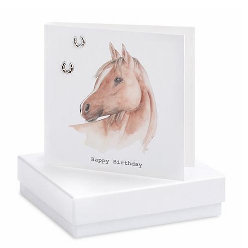 "Horse Boxed Earring Card ""Happy Birthday"""