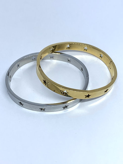 Star Bangle in Silver or Gold