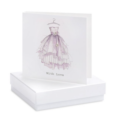 """Party Dress Boxed Earring Card """"With Love"""""""