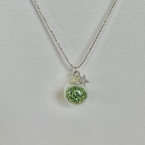 Green Glitter Globe Necklace silver Chain