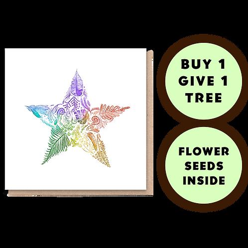 1 Tree Planted Card - Rainbow Star