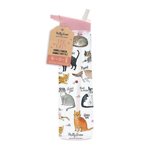 Cat LoverClear Water Bottle - Cornstarch (PLA) & BPA Free