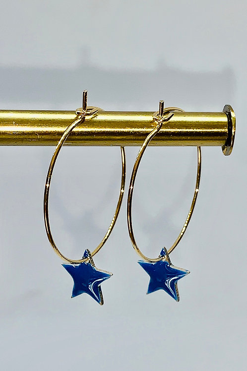 Gold Hoop Star Earrings