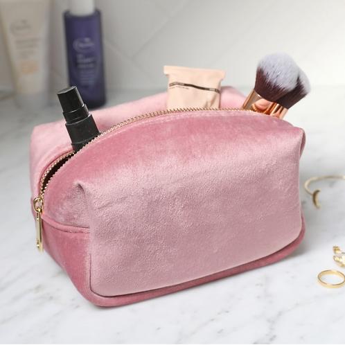 Velvet Box Make Up Bag in Pink