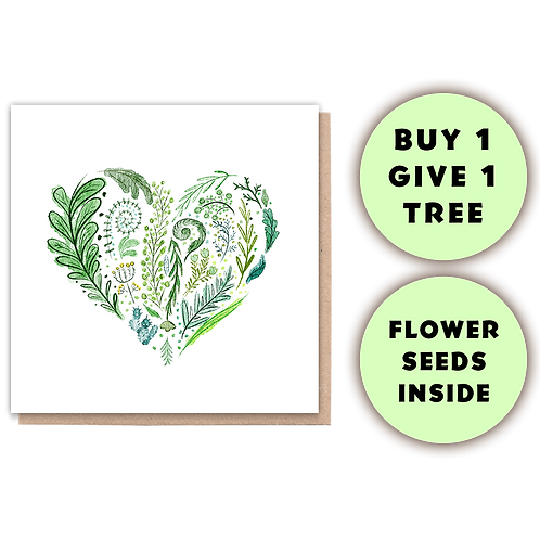 1 Tree Planted Card - Green Heart